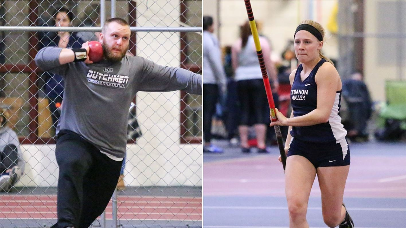 trent donlan throwing the shot put and olivia faloon pole vaulting